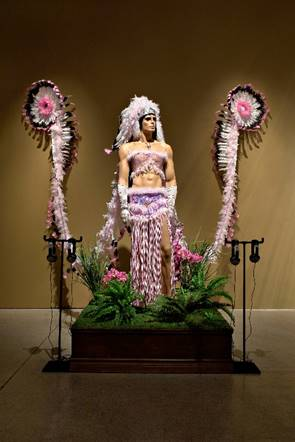 Fig. 4. Kent Monkman.  Tall Tails,  2007. Installation detail showing costume worn by Monkman as Miss Chief in the performance   Séance  . Photo: Walter Willems