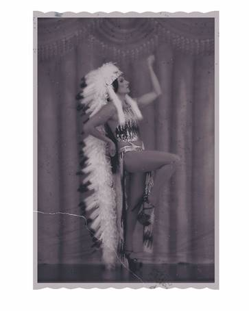 "Fig. 6. Kent Monkman.  Miss Chief, Vaudeville Star  from the series  Miss Chief: The Emergence of a Legend , 2006. Collaboration with photographer Christopher Chapman and makeup artist Jackie Shawn. Chromogenic prints on metallic paper, 4.5"" x 6.5"" / 16"" x 13.25"" (framed)"