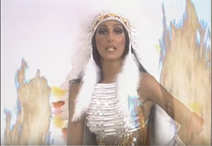 Fig. 7. (left) Cher. Official  Half-Breed  Music Video, 1973. (CherChannelHD). Screen Capture