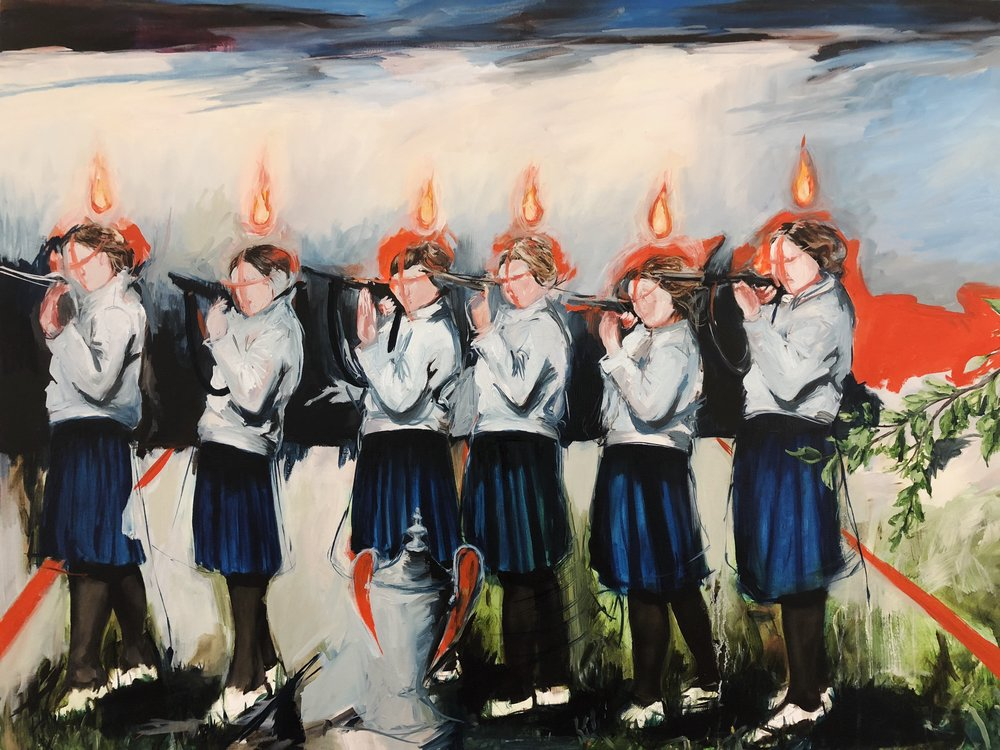 "Sharon VanStarkenburg,  Aim , oil on canvas, 36""x48"""