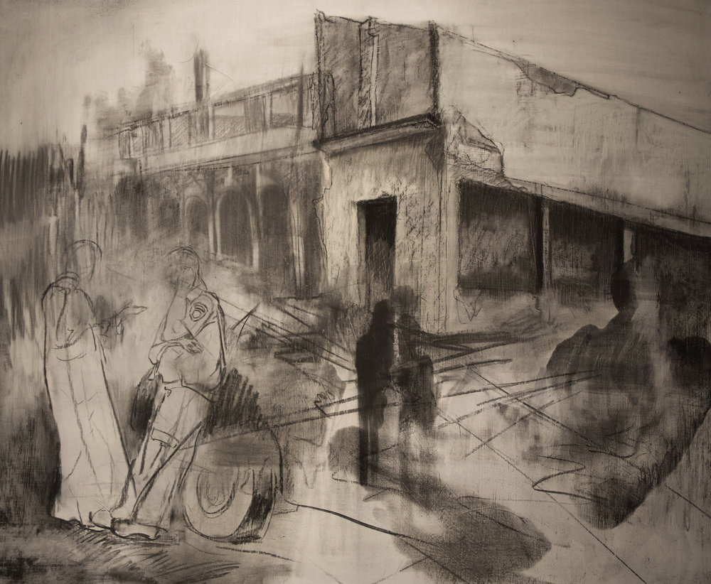 Your House Was Too Close to the Road, Charcoal on Panel, 30 x 36 inches / Ta maison était trop près du chemain, fusain sur panneau, 30 x 36 pouces.