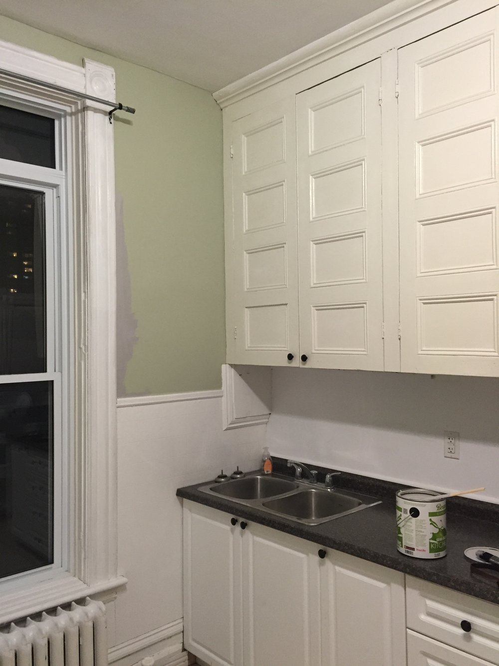 This is the only before image I have of my kitchen. I painted it grey when I moved in, and a year later, repainted it white. I love green, but I hate this green because I have too frequently seen it in hospitals and nursing homes. Plain palettes with layers of intense colour and natural materials can really age well.