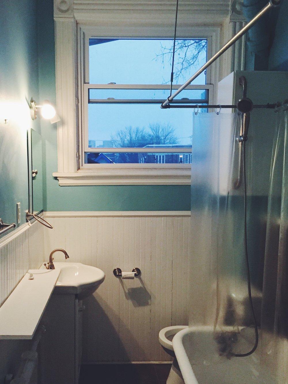 Bathroom, before. Particle board side shelf, storage cupboard blocking view when in bath.