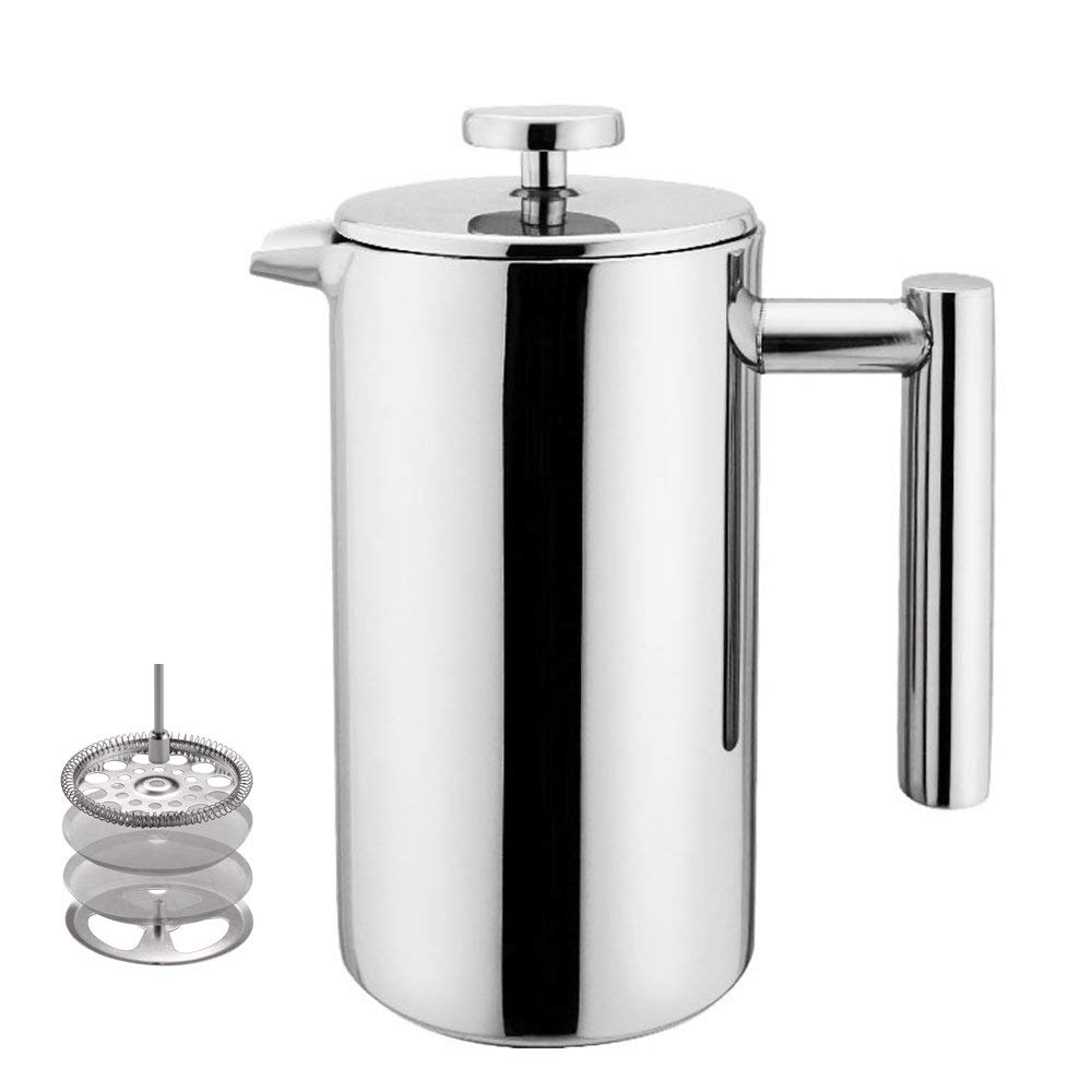 French press. Environmentally friendly coffee-making. No filters, no paper cups and plastic lids, no keurig cups. Easily make coffee in the break room for invited guests.