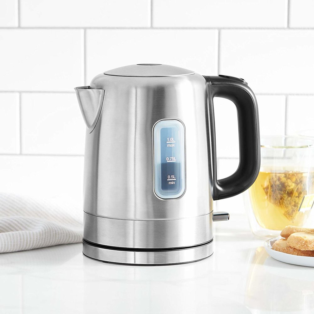 Our plastic kettle is actually disintegrating. Stainless steel is safe and easy to clean. We do not have to buy this, I bought one for the store. I will move it to the break room.