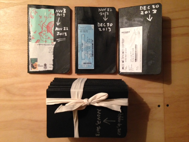 The three most recent ones and a big, hefty stack of older journals.  I paste ticket stubs and images to the outside, for old time's sake.