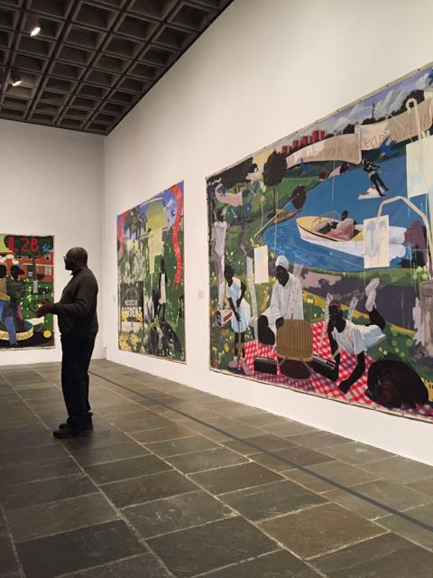 // a little photo I snapped of KJM in front of three of his paintings at the Met \\