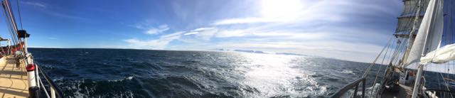 A panoramic I took onboard Antigua. Sailing off the coast of Svalbard.