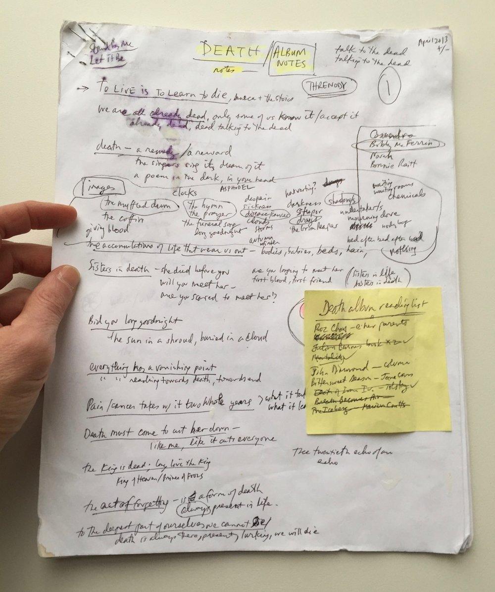 """My """"Death/Album notes"""" doc ..."""
