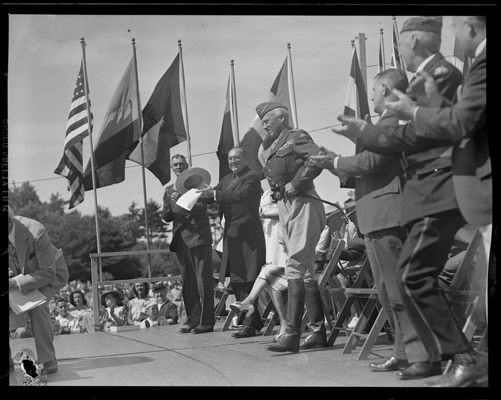 Gen. George Patton in Hamilton, Mass. Photo courtesy of the   Boston Public Library  .