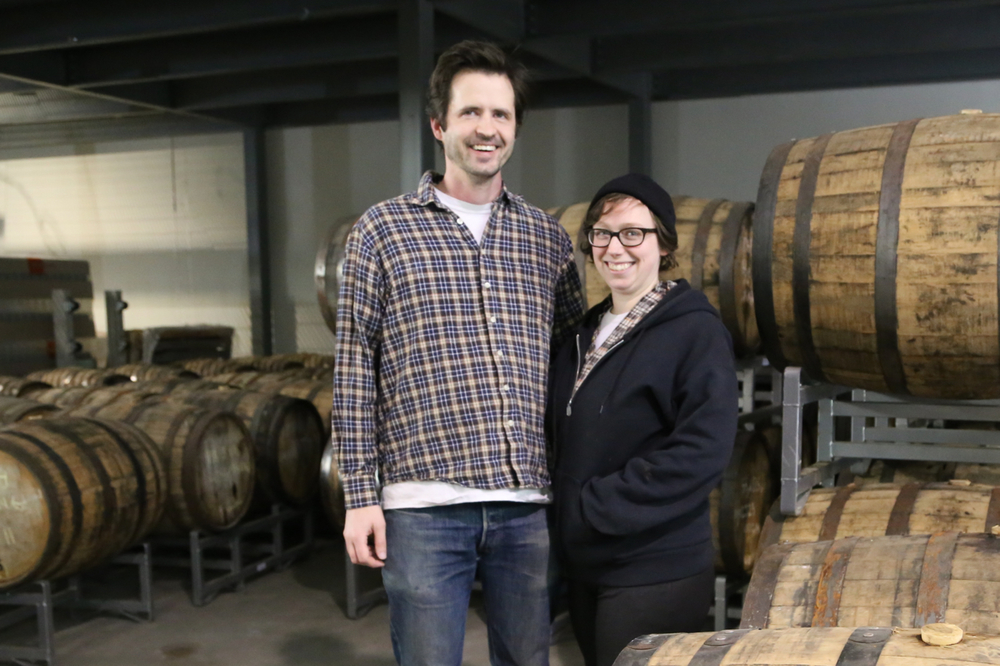 Maggie Campbell and Peter Newsom, the husband and wife distilling duo.
