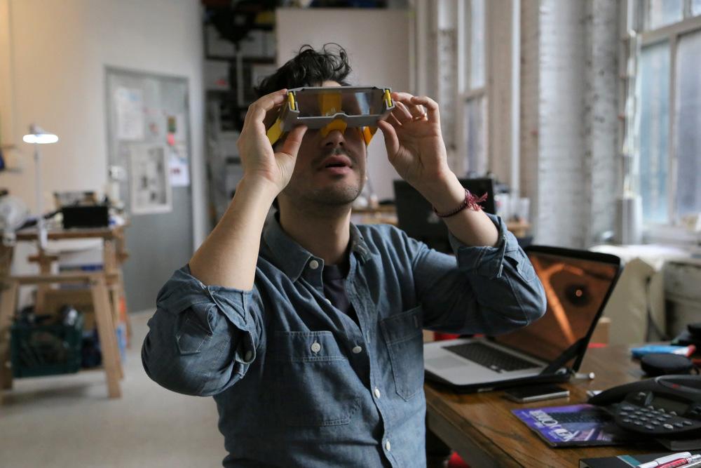 Pepin Gelardi wears Tomorrow Lab's  Inversion Goggles .