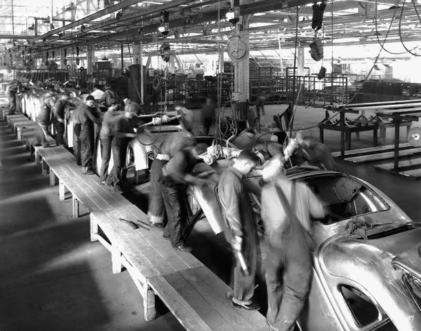 Ford assembly line.