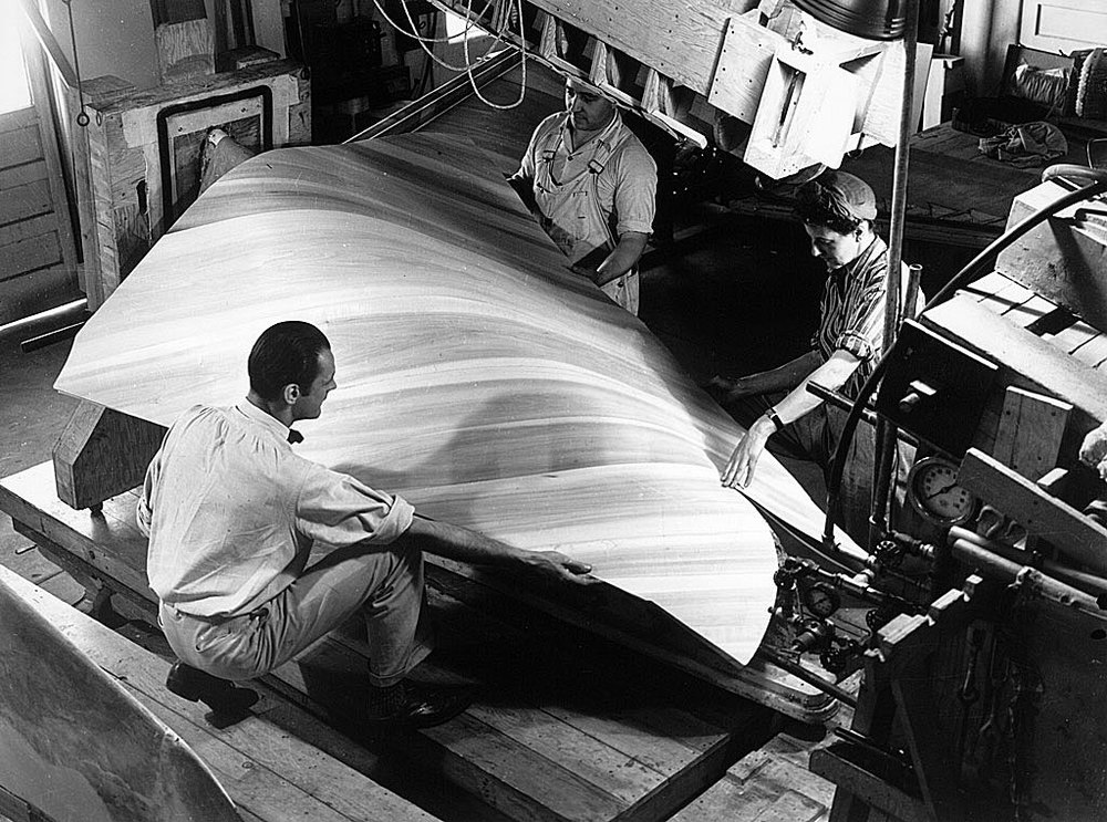 Griswald Raetze and Office Staff Working on a Molded-Plywood Airplane Part, 1943. Library of Congress.