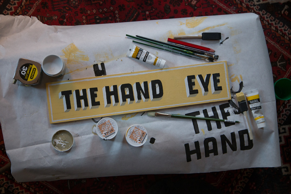 The Hand & Eye Pop Up Shop in sign in process.