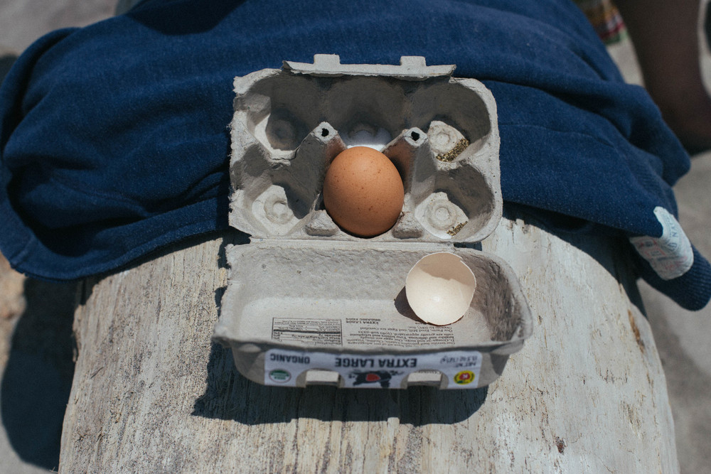 Hard-boiled egg beach transportation kit.