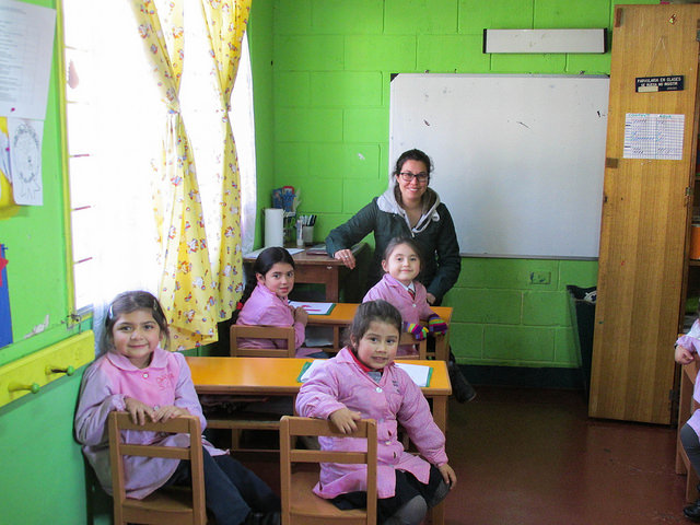 I got to vist some of the classrooms of e nseñanza  basica, this is a kindergarden classroom.