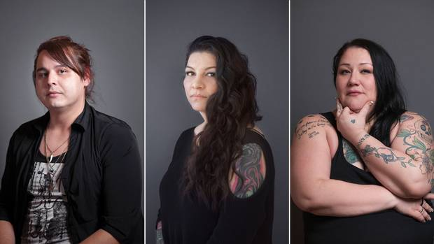 Survivors (clockwise from left) Alaya McIvor, Beatrice Wallace-Littlechief and Bridget Perrier: Indigenous people account for just one in every 25 Canadians, but one 2014 study estimated they are about one in every two victims of human trafficking. (May Truong for The Globe and Mail)