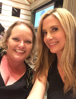 Beth Jacobs and Actress Mira Sorvino take a selfie at the gala.