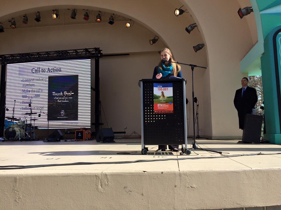 TAT Freedom Driver's Project Director, Helen Van Dam, presenting at the Greater Orlando Human Trafficking Awareness Day event.