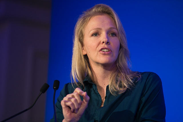 TAT Executive Director, Kendis Paris, presenting at the Trust Women conference in London. Photo Credit: Reuters
