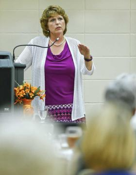 CHRIS NEAL/THE CAPITAL-JOURNAL Dr. Sharon Sullivan discusses problems with human trafficking in Kansas during a network luncheon at the YWCA Wednesday afternoon.