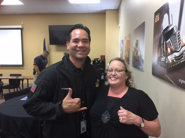 Utah Attorney General Sean Reyes and Beth Jacobs, TAT field trainer,  have fun at the Utah coalition build.