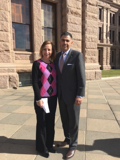 TAT Deputy Director Kylla Lanier and Texas Trucking Association President John Esparza were both present at the Texas capitol for the announcement on upcoming bills regarding CDL training in Texas.