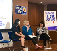Laura Cyrus, TAT operations director (center) took part in a panel discussion at the United Way conference. With her on stage are (left) Anesa Parker, manager for Monitor Deloitte, and (right) Laura Johns, director of corporate relations at UPS Foundation.