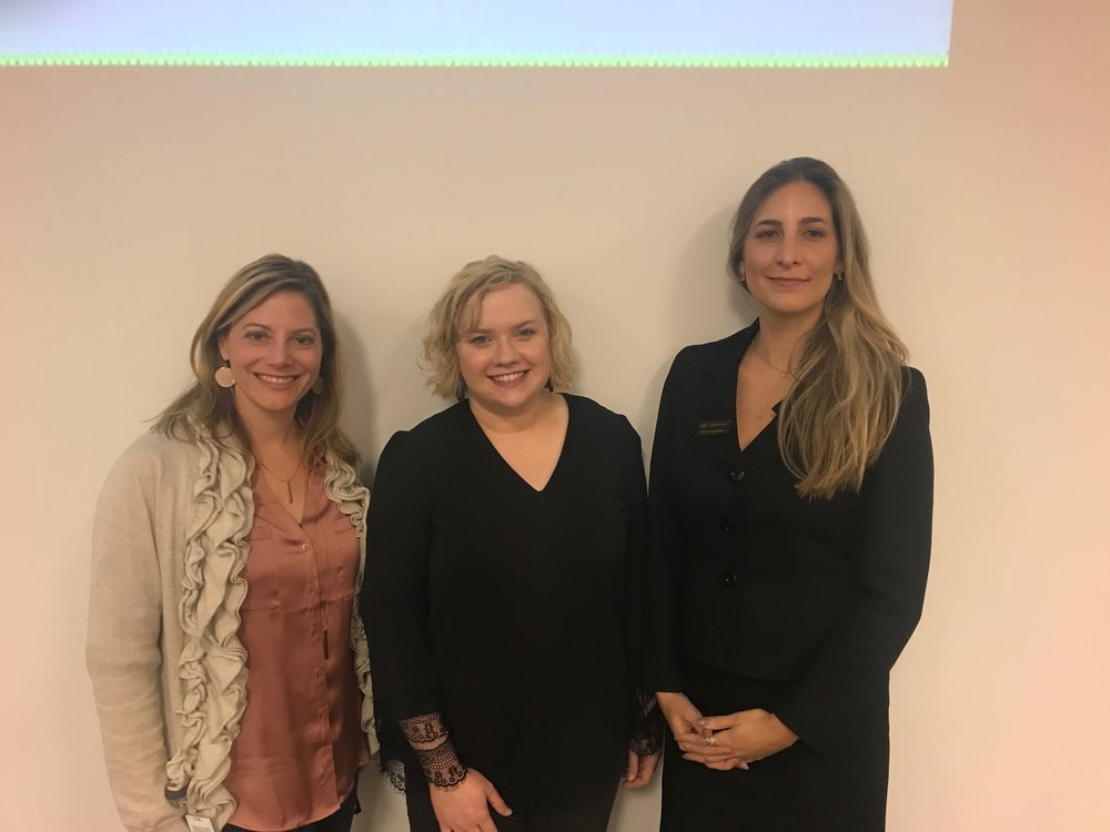 Alicia Dzurka, left, transportation analyst at XPO Logistics, Laura Cyrus, center, and Kristin Beck, right, Dow's NAA road logistics modal Leader, all worked at the XPO Logistics Carrier Safety and Operations meetings.