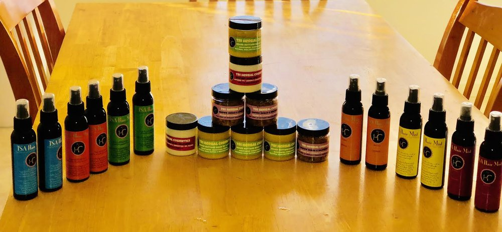 The TriHerbal Cosmetics Product line.
