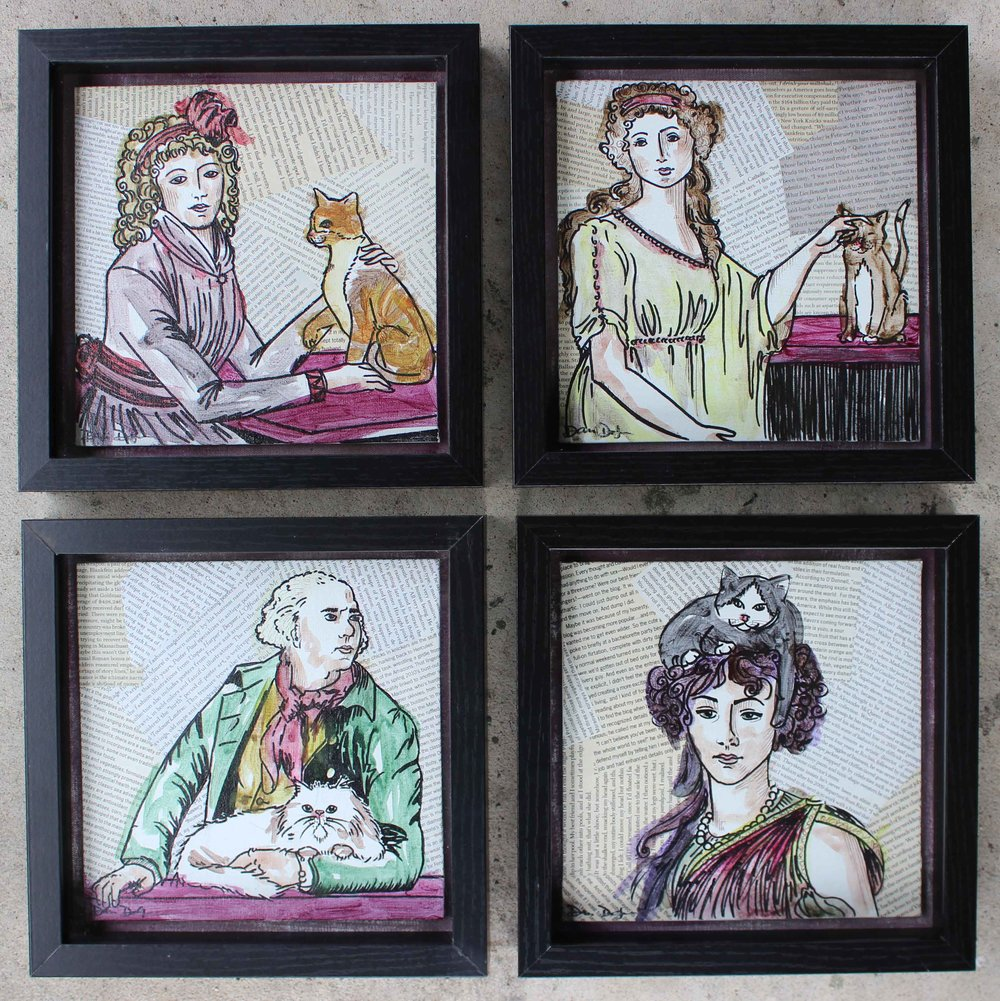 """Vigee Le Brun...and Cat"" series  10x10in each"