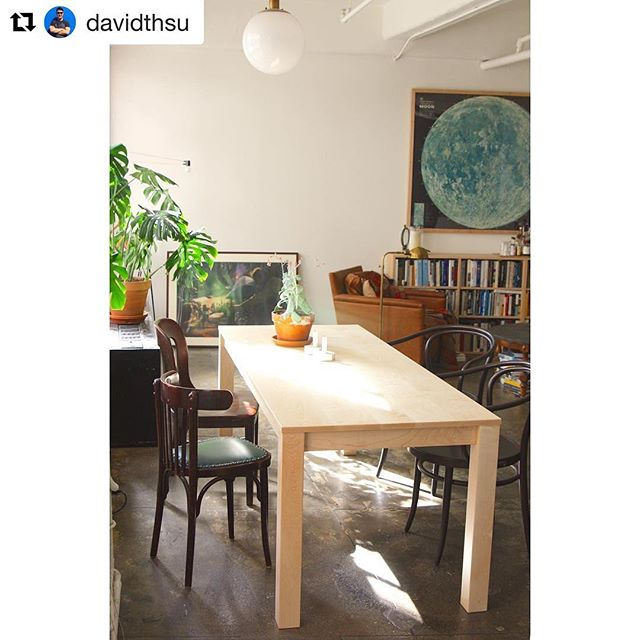 "Well put, @davidthsu ✨Thanks for sharing ・・・ Took me two years to find ""the one"" ---Behold the Parsons table in solid maple from @hedgehousefurniture. 78"" long so you can take in the conviviality of all your comrades, 31"" wide so you can still see candlelight dancing in a friend's eyes. At the same time, I thanked my $30 plastic folding table for a job well done. Here's to many gatherings to come in 2017 and beyond..."