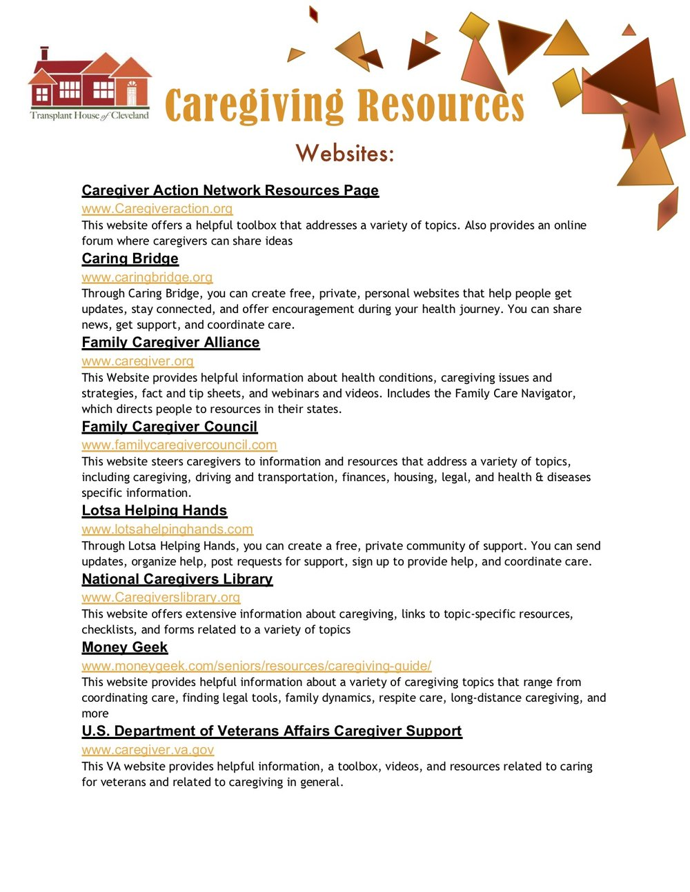 Caregiver Resources & Books -