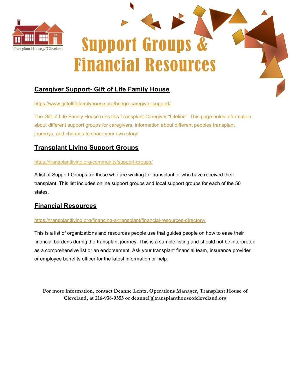 Support Groups and Financial Assistance -