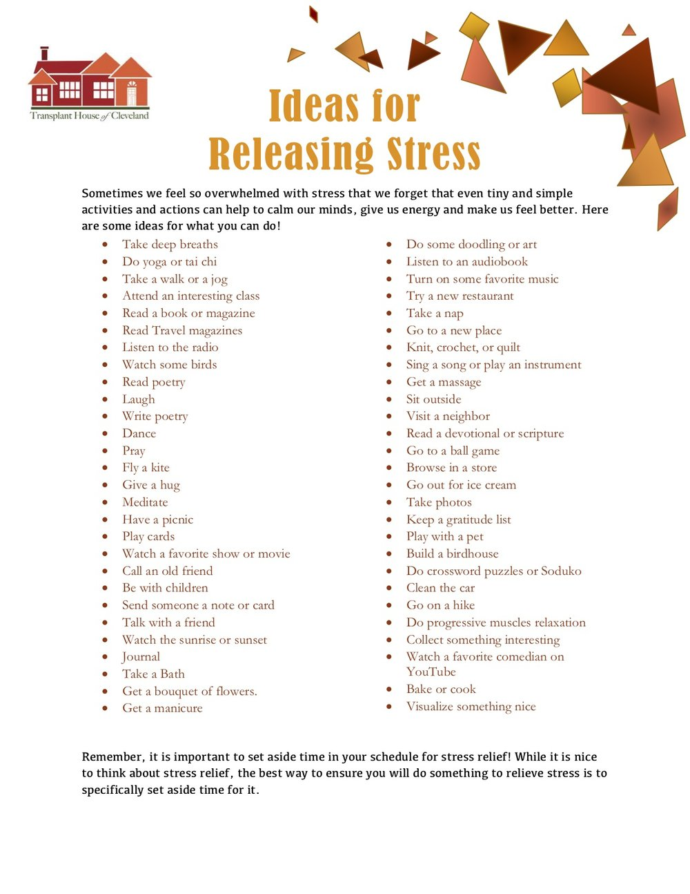 Ideas for Stress Relief -