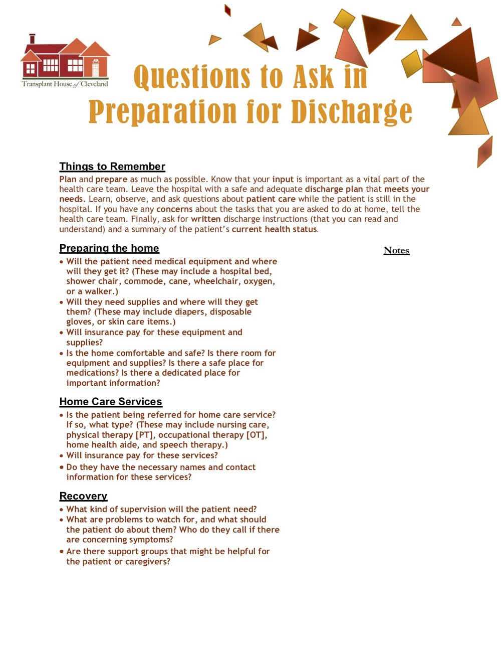 Questions to Ask In Preparation for Discharge -