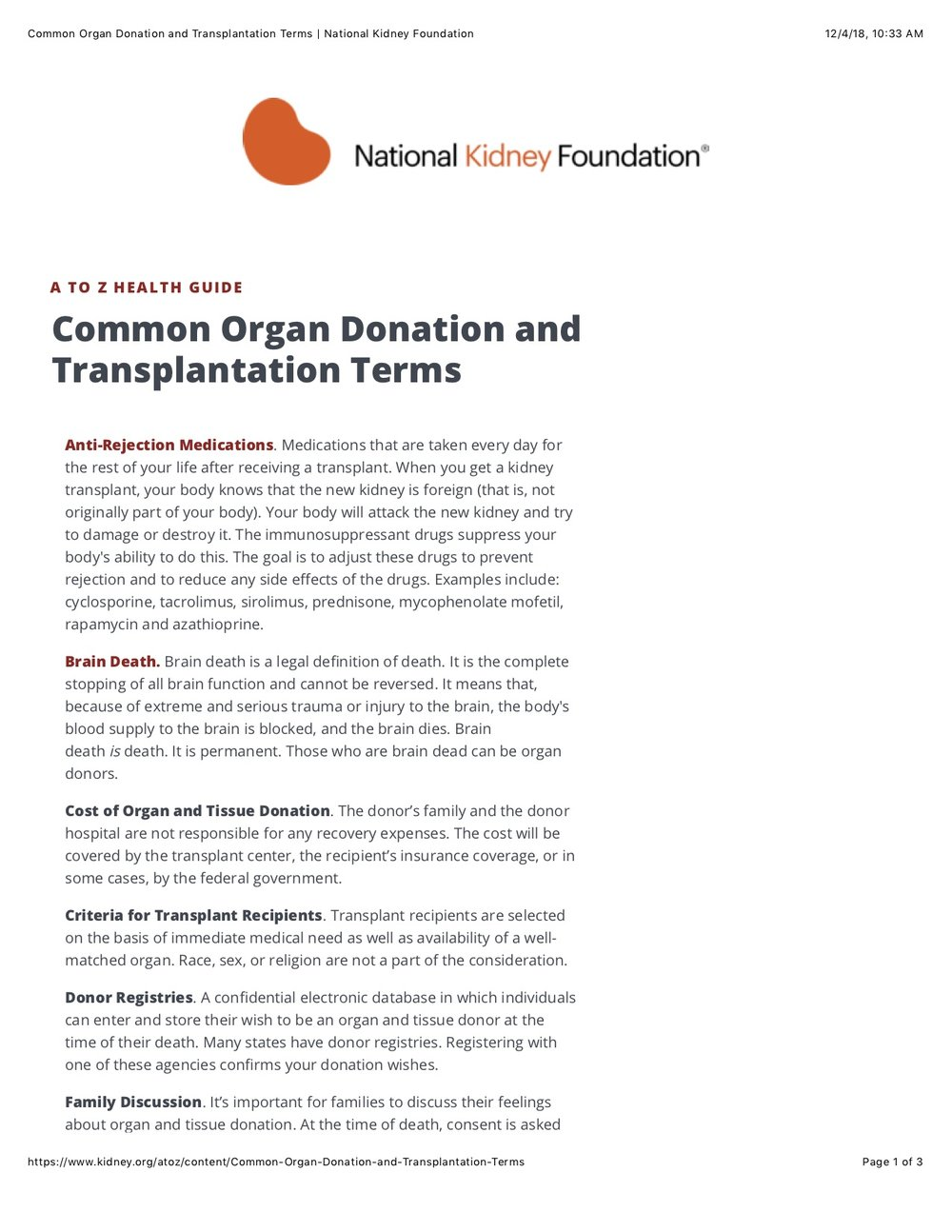 Common Organ Donation and Transplant Terms -