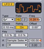 The LFO modulates the Sample Selector using a Random waveform.