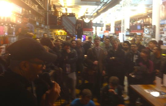 The view of the crowd before my presentation, with Rock and Roll Hall of Famer Hank Shocklee on the left