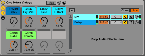 One Word Delay Ableton Live Audio Effect Rack, available on DJTechTools.com