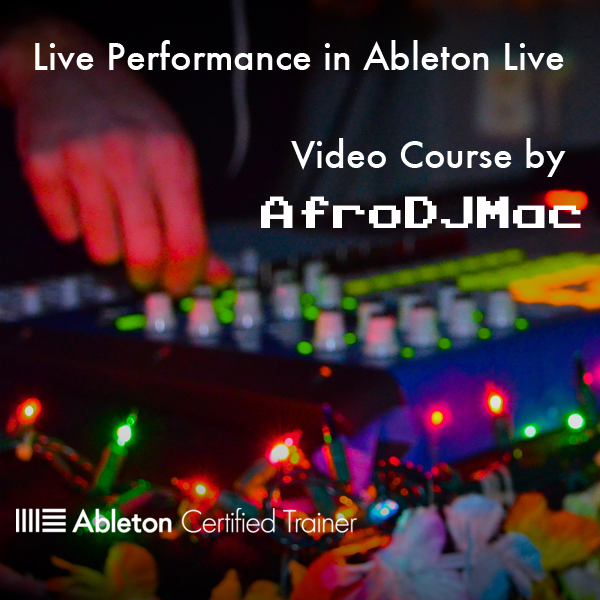 Live Performance with Ableton Live Video Course   Ableton Certified Trainer, AfroDJMac, shows you the ins and outs of using Ableton Live for Live Performance. Learn how to take your music to the stage. In just a couple of hours, you will learn tips, tricks, and techniques that took years of study, trial and error, and experimentation. The course is straight to the point and is guaranteed to give you the tools you need to perform live or you get your money back.   Download Includes:  -2.5 hours of video (downloadable and streamable) -31 concise videos (average length is 5 minutes) -10 Audio and MIDI Performance Effect Racks -Live Performance Ableton Live Template -Satisfaction Guaranteed or Your Money Back