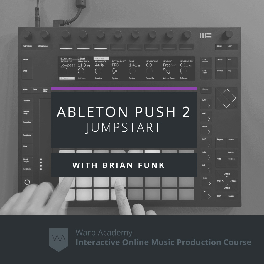Ableton Push 2 Jumpstart Video Course Ableton Push 2 is a deep and expressive instrument that provides the tightest integration with Ableton Live. In this video course you will learn: Everything there is to know about Push 2; How to quickly create, edit, and sequence beats; How to write melodies, add effects, and build automation; How to mix, edit, and arrange your ideas; How to turn Push 2 into a completely customized controller. Course Includes: -2 Hours of video in 50 to-the-point lessons. -3 Hour Live Interactive Video Seminar with AfroDJMac. -Satisfaction Guaranteed or Your Money Back.