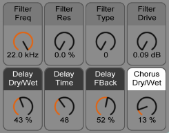 Controls for Filters, Delay, and Chorus