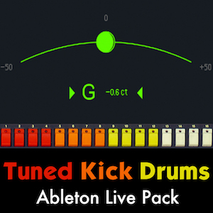 Tuned Kick Drums Ableton Live Pack   Create deep and heavy melodic kick drums using these powerful Ableton Live Instruments. Includes playable synthesizer instruments built from the kick drum sounds.