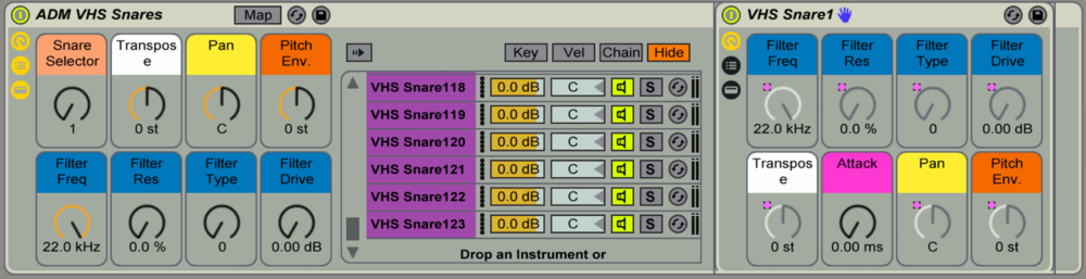 There are 9 Selector Instruments that allow you to cycle through the entire collection of each drum type.