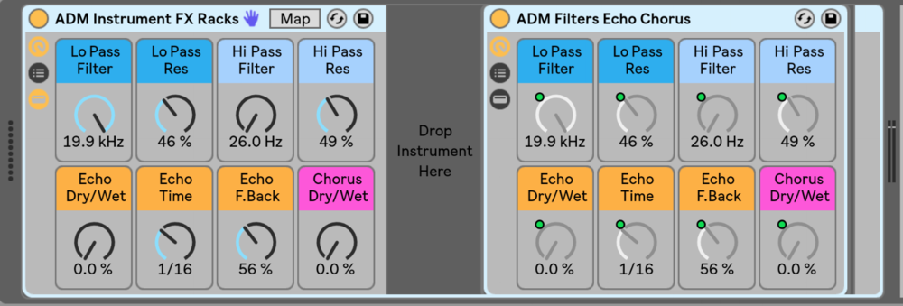 Drop any instrument in this Rack for instant Filters, Echo, and Chorus.