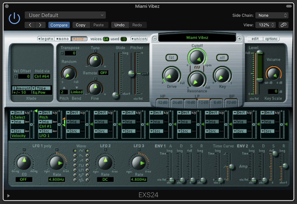 LATE 80's DIGITAL in Logic Pro's EXS24 sampler.