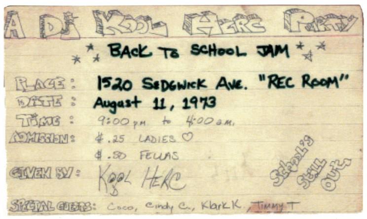 DJ Kool Herc Hip Hop Party Flyer