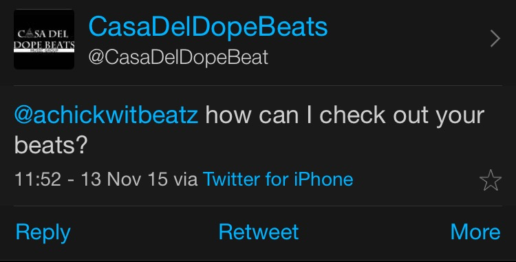 This tweet will not be visible to @casadeldopebeats' followers unless they also follow @achickwitbeatz.